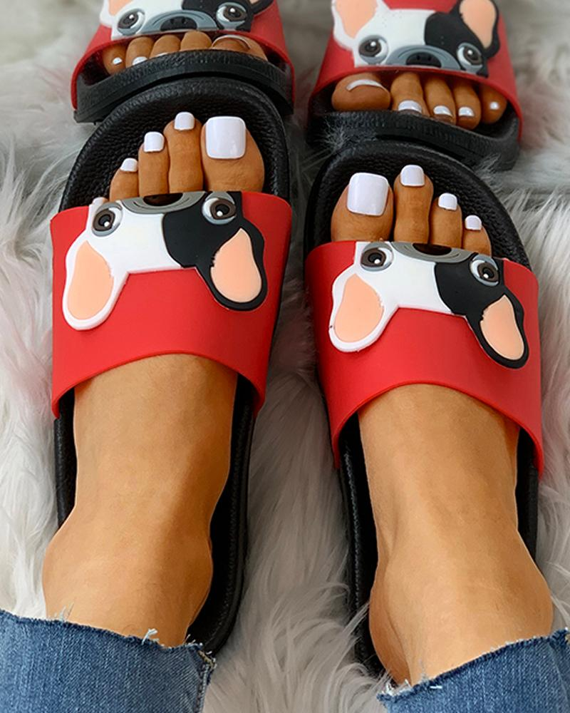 Cartoon Pattern Open Toe Flat Sandals thumbnail