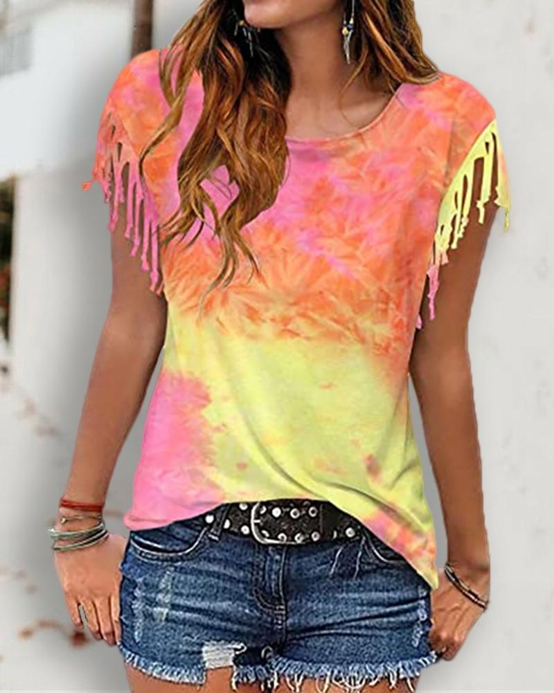 Tie Dye Print Tassel Casual T-shirt thumbnail