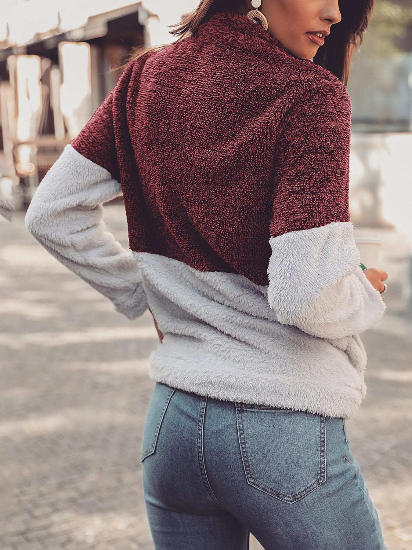boutiquefeel / Contrast Color Quarter Zip Teddy Sweatshirt