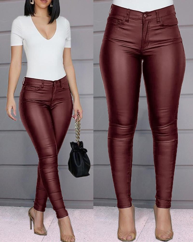 Solid Buttoned Casual Coated PU Pants thumbnail