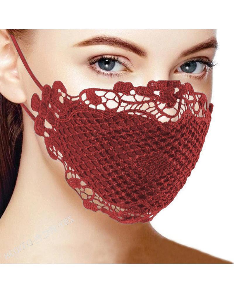 Lace Hem Outdoors Breathable Face Mask thumbnail