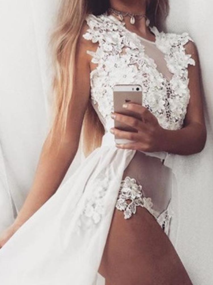 Seductive Sheer Mesh Lace Applique Maxi Romper Dress Online. Discover  hottest trend fashion at chicme.com feefd7c3e