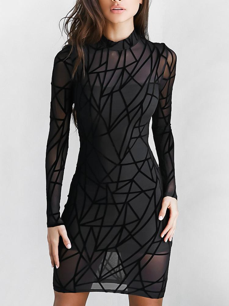 Sexy Geo Pattern Mesh Back Zipper Bodycon Dress Online Discover