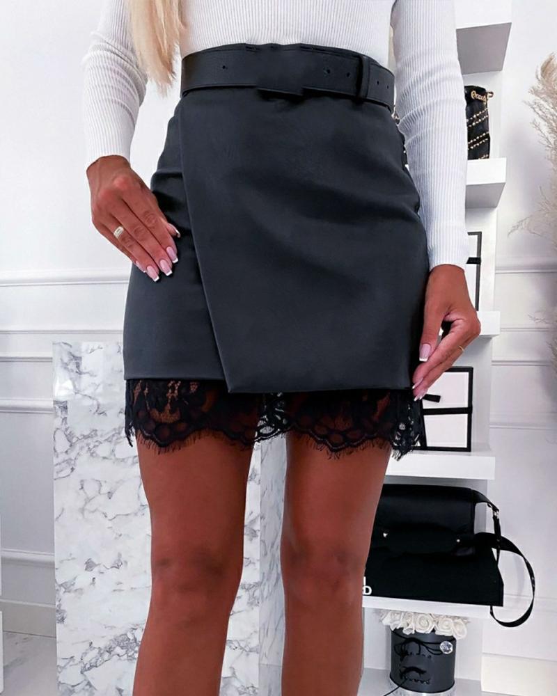 Solid Splicing Lace Split Hem Skinny Mini Skirts thumbnail