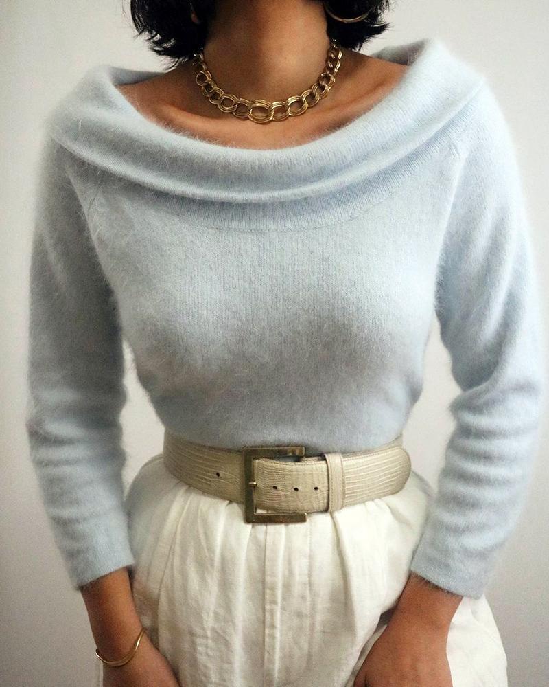 Plain Fluffy Long Sleeve Sweater