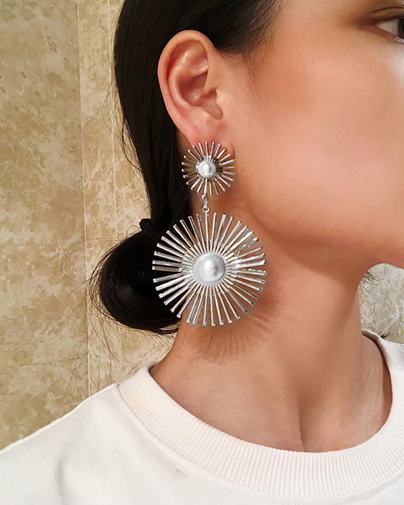 Beaded Double Geometric Pattern Drop Earrings thumbnail