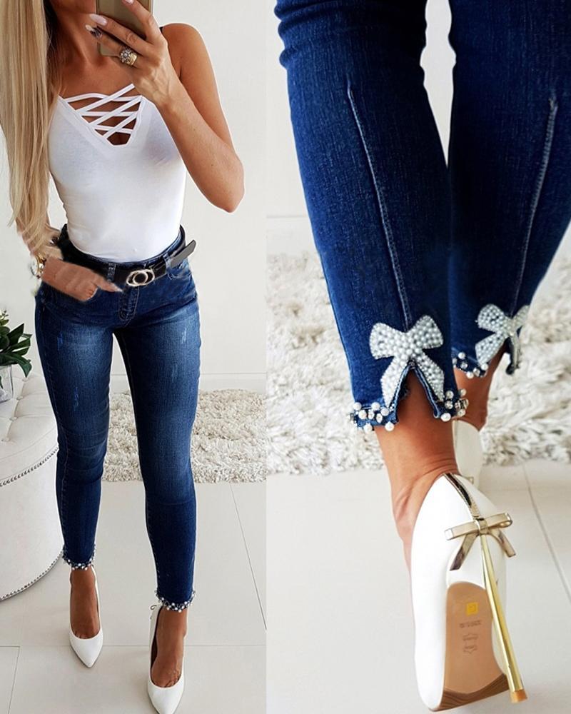 Bow Cuff Skinny Jeans thumbnail