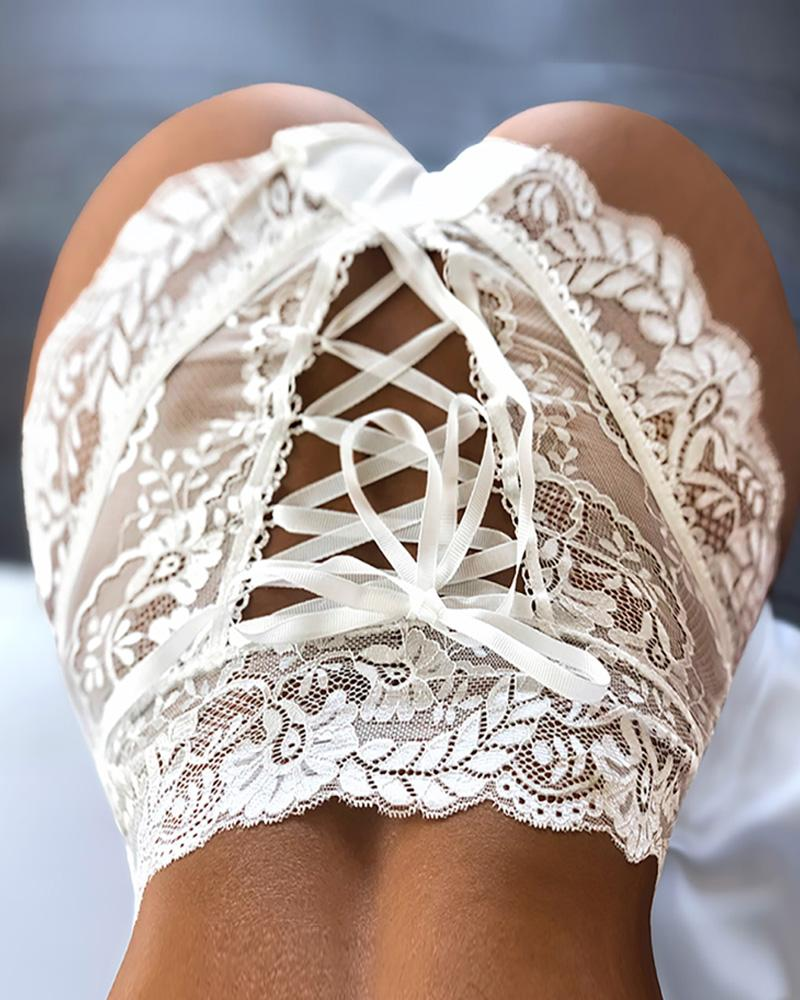 High Waist Lace-up Floral Lace Panty