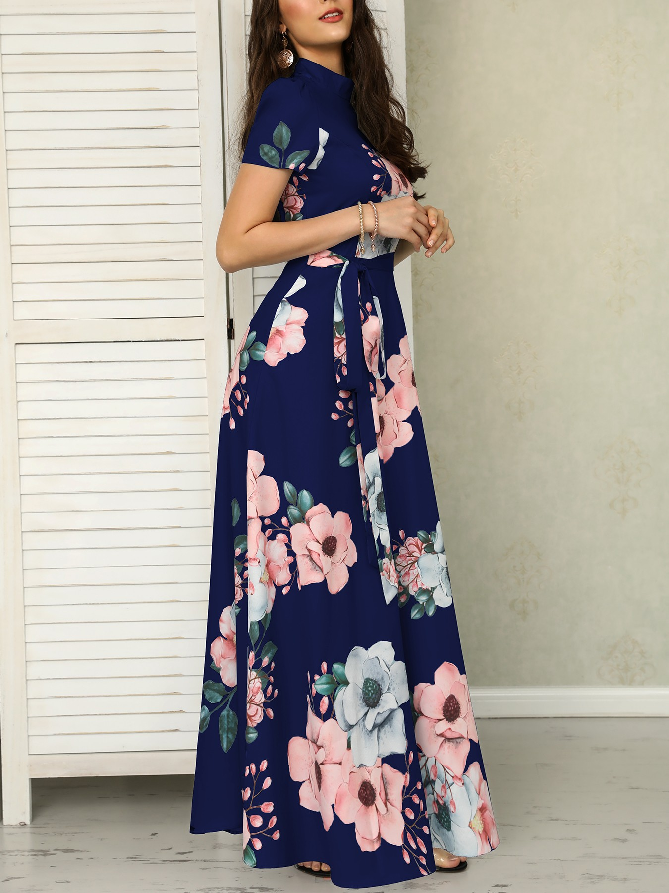 boutiquefeel / Floral Print Short Sleeve Tie Waist Maxi Dress