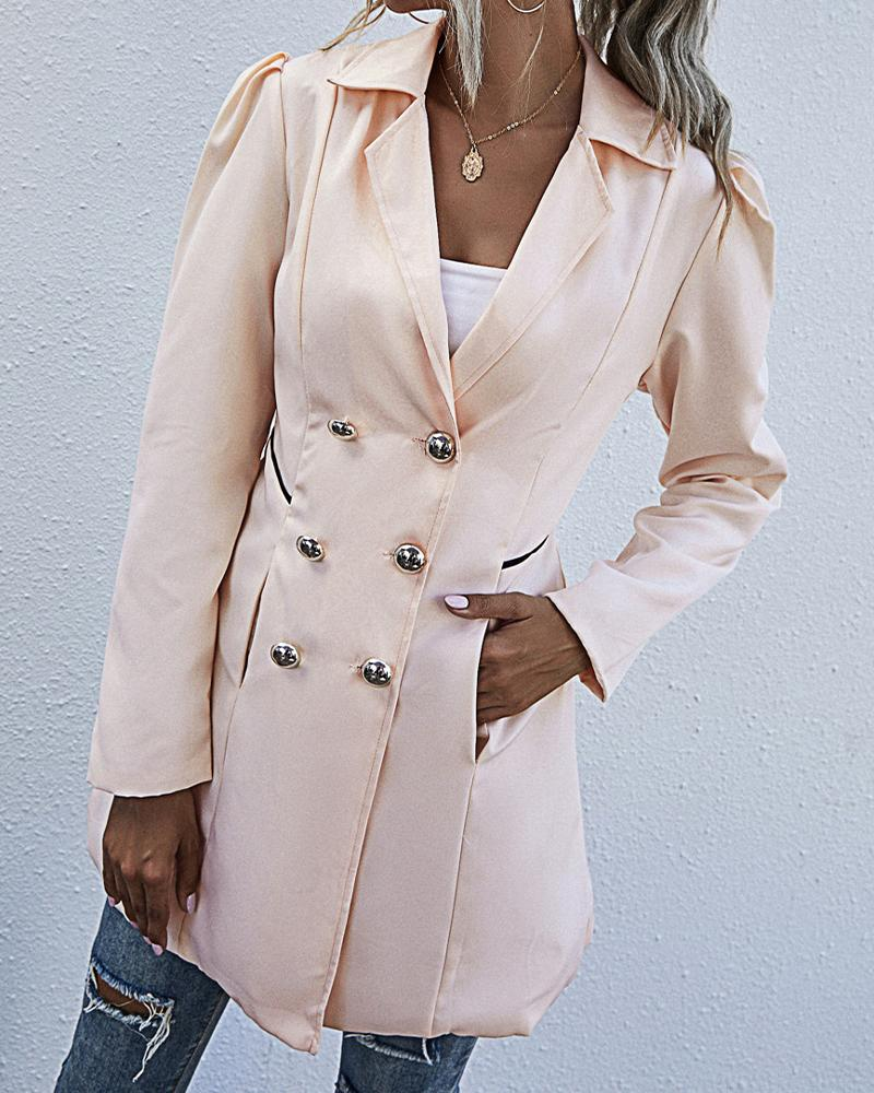 Solid Long Sleeve Fiting Double Breasted Coats thumbnail