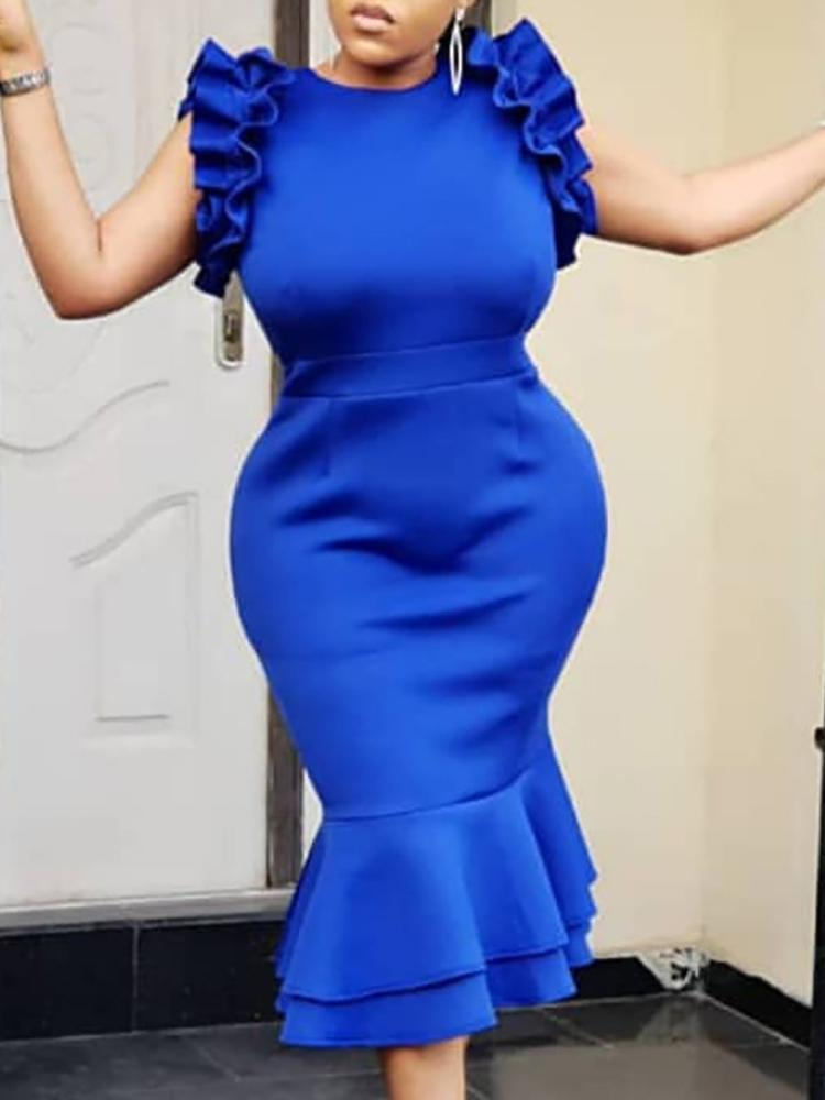 boutiquefeel / Layered Ruffles Fishtail Bodycon Dress