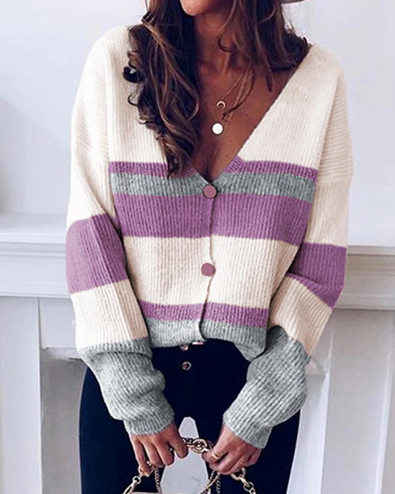 Striped V-neck Knit Sweater Cardigan thumbnail