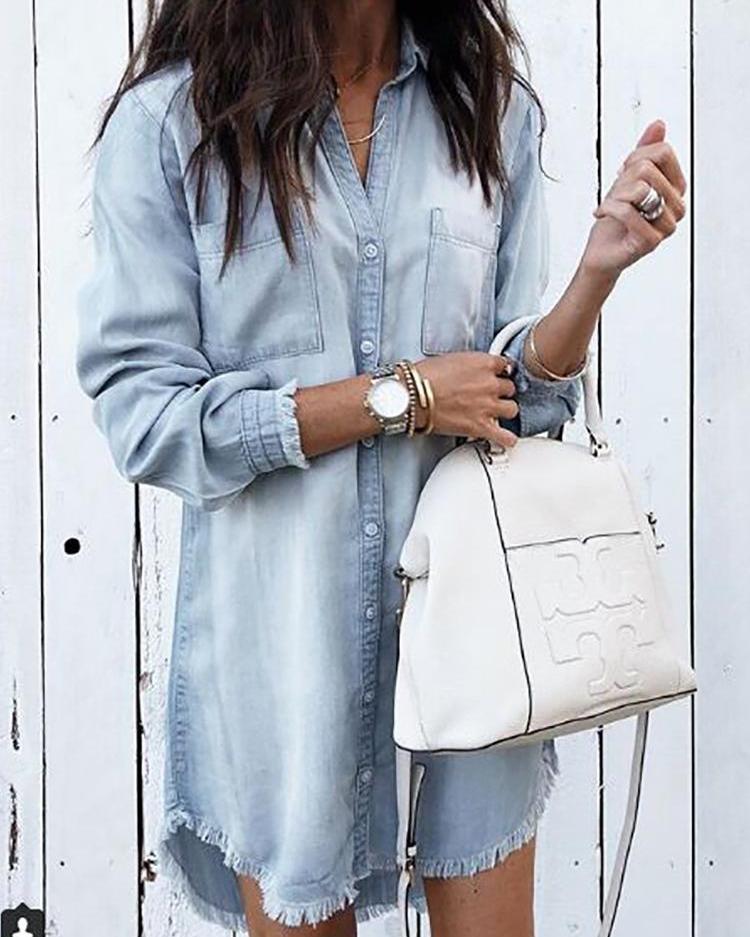 ff6315bda76b Denim Frayed Hem Long Sleeve Shirt Dress Online. Discover hottest ...