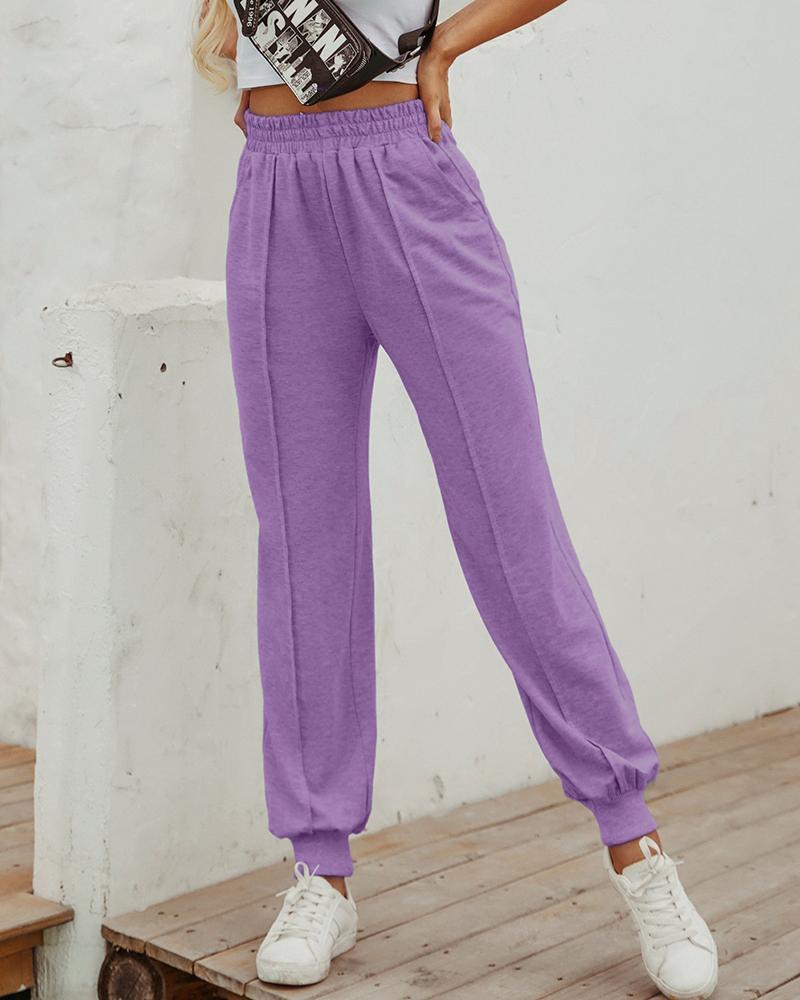 Elastic Waist Casual Cuffed Pants thumbnail