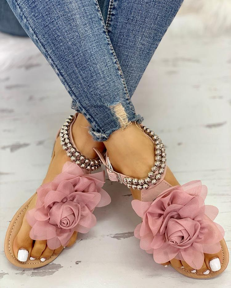 Mesh Sandals Flat Embellished Beaded Floral WH9YD2eEI