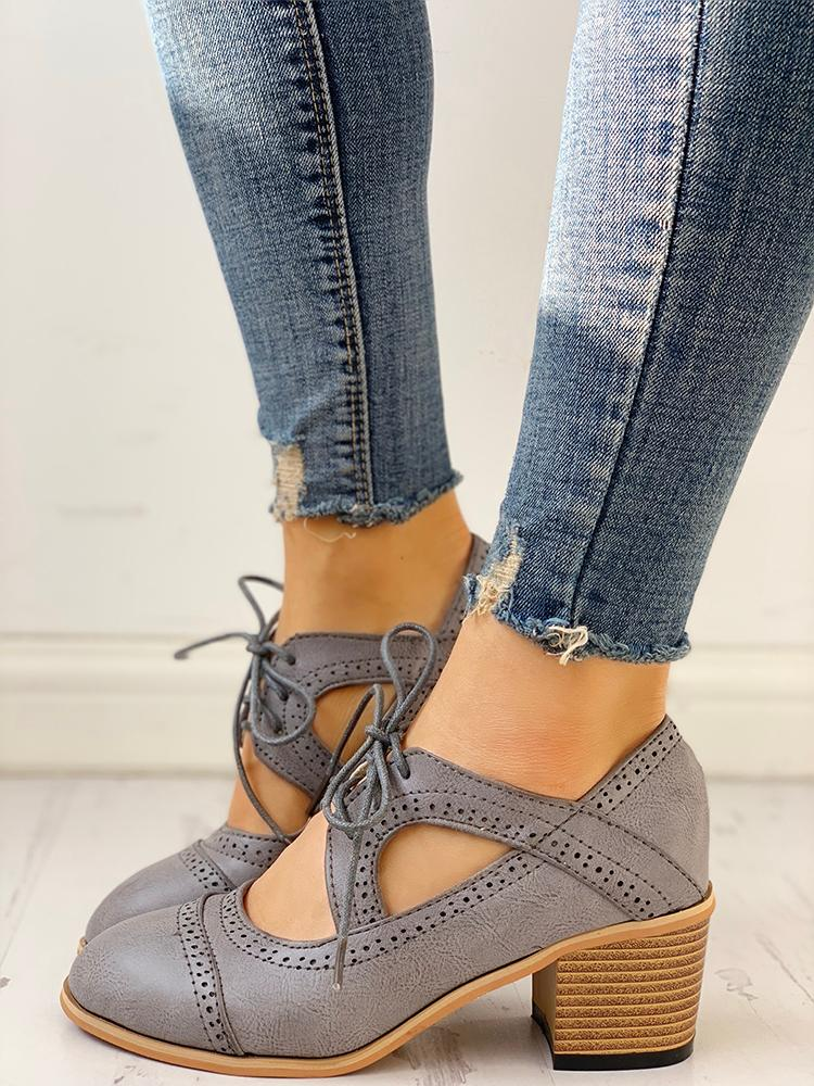 boutiquefeel / Lace-Up Cut Out Chunky Heels