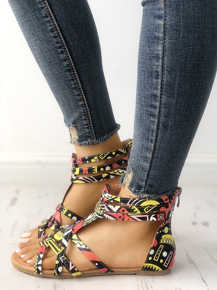 boutiquefeel / Graffiti Print Strappy Bandage Flat Sandals
