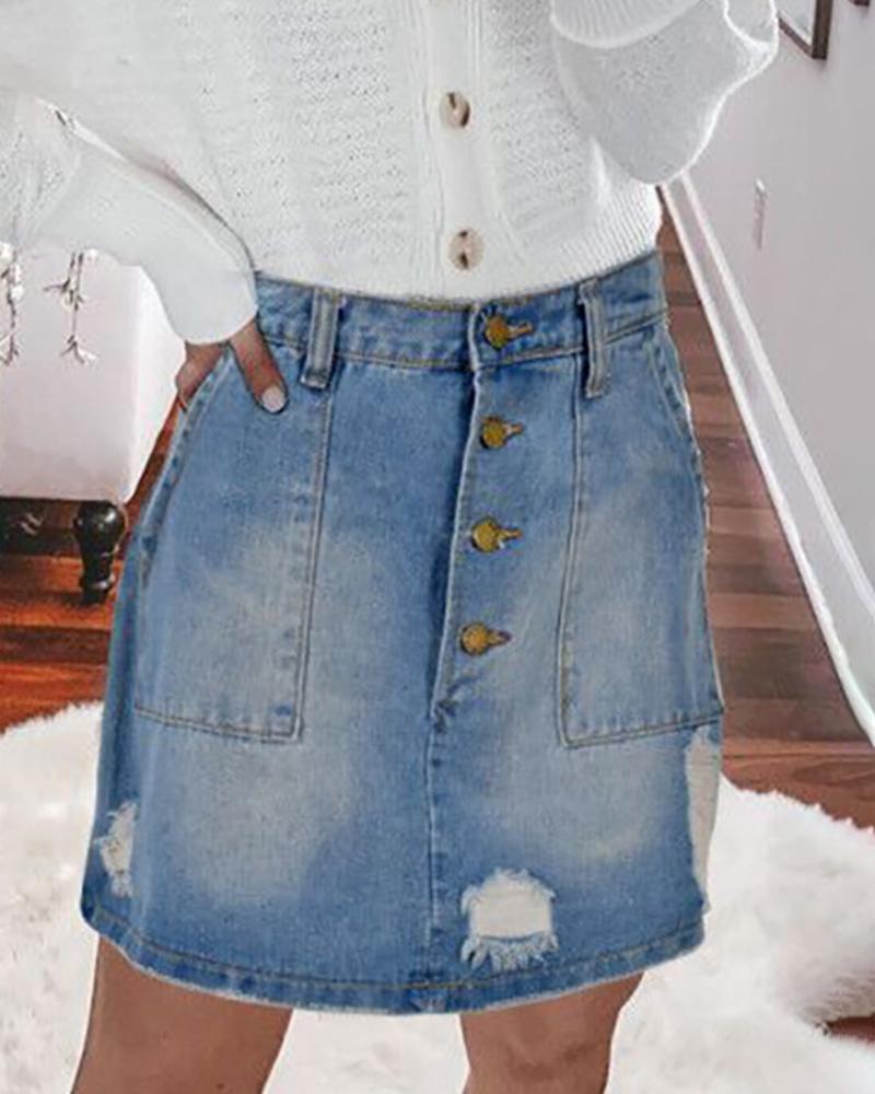 Ripped Buttoned Pocket Design Denim Skirt thumbnail