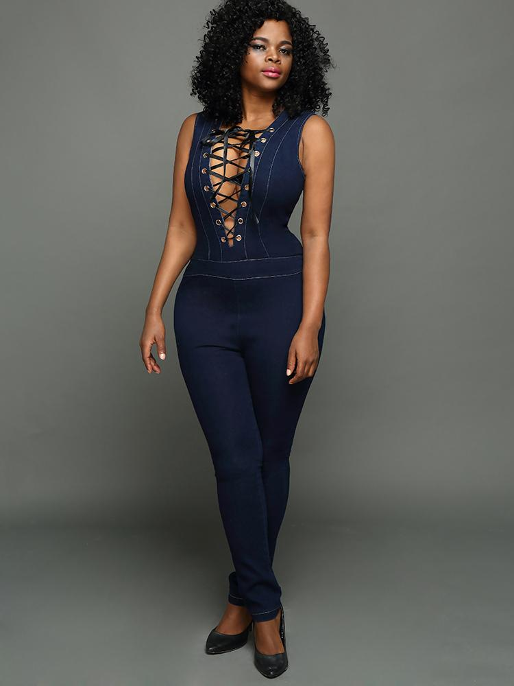 928f3f95f6a Sexy Deep V Neck Criss Cross Tight Denim Jumpsuit Online. Discover hottest  trend fashion at chicme.com