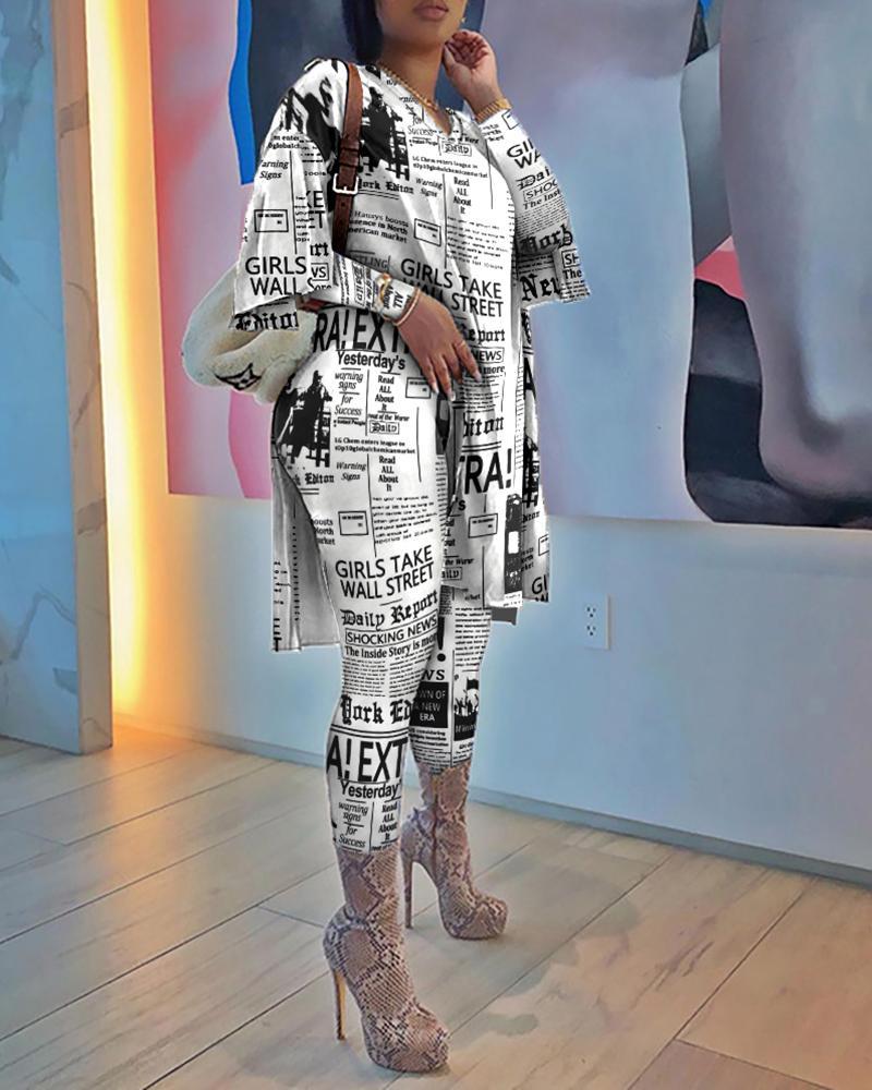 Newspaper Print Side Slit Top & Skinny Pants Set