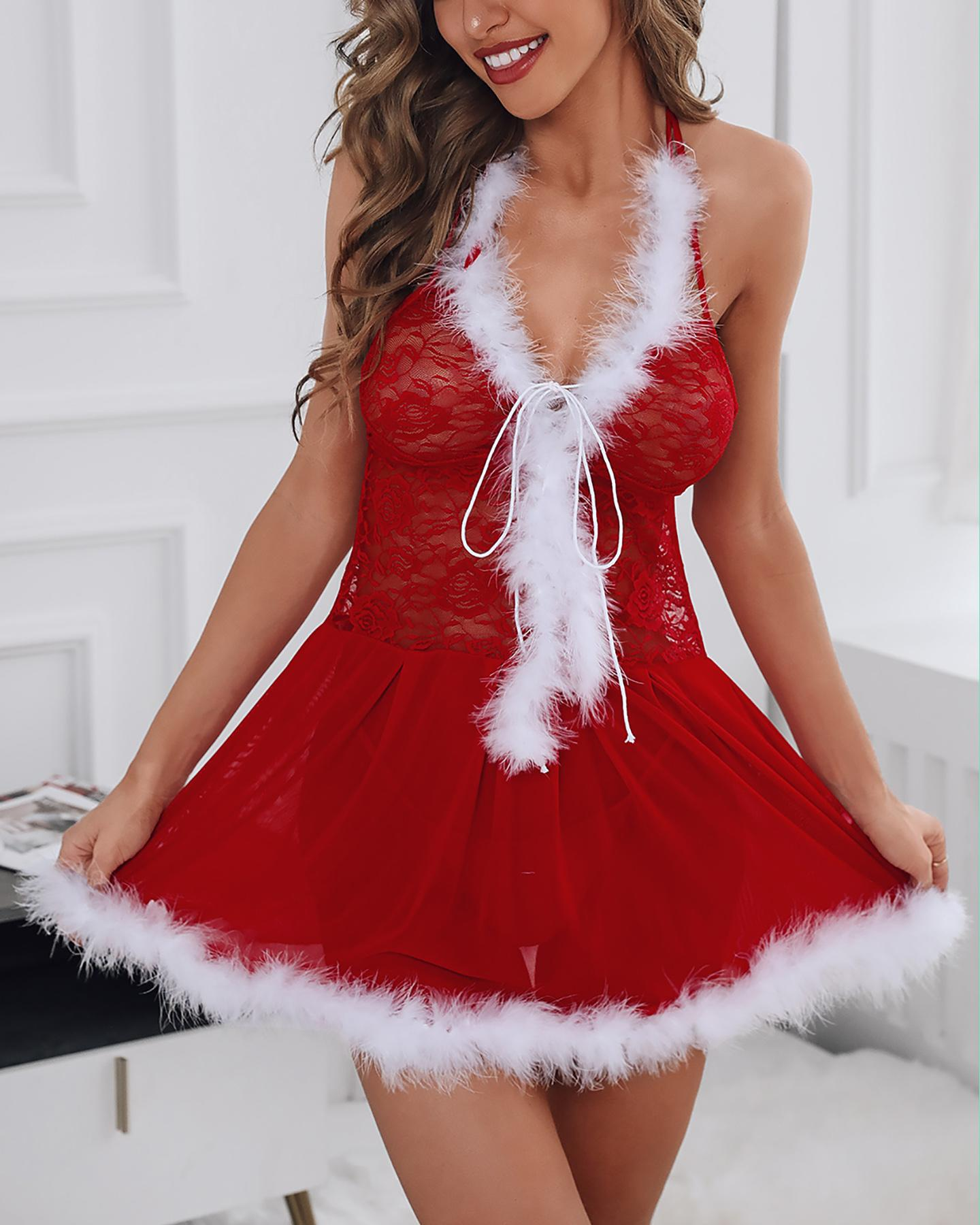 Christmas Halter Sheer Mesh Lace Fluffy Hem Babydoll