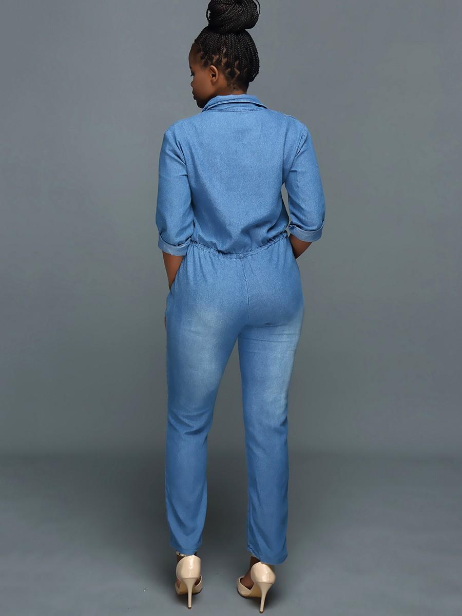 9d39eeb6bda Women Long Sleeve Slim Fit Denim Jumpsuit