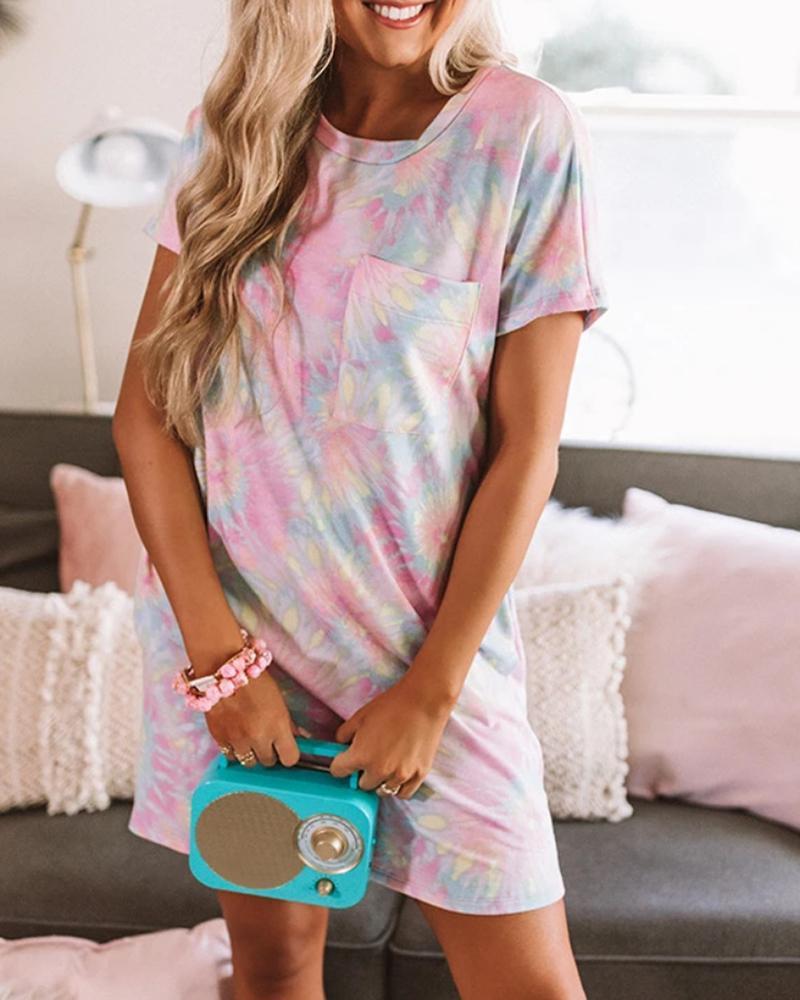 Tie Dye Print Pocket Casual Dress thumbnail