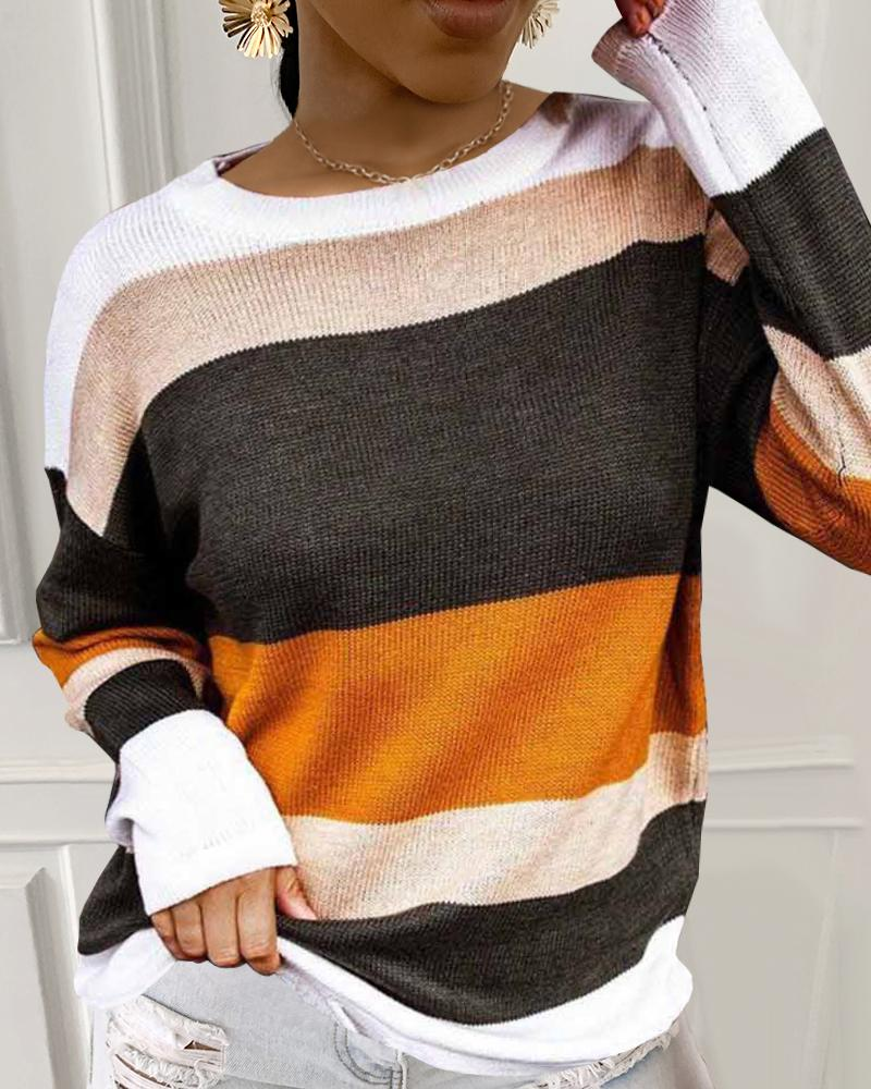 Colorblock Casual Knit Sweater thumbnail