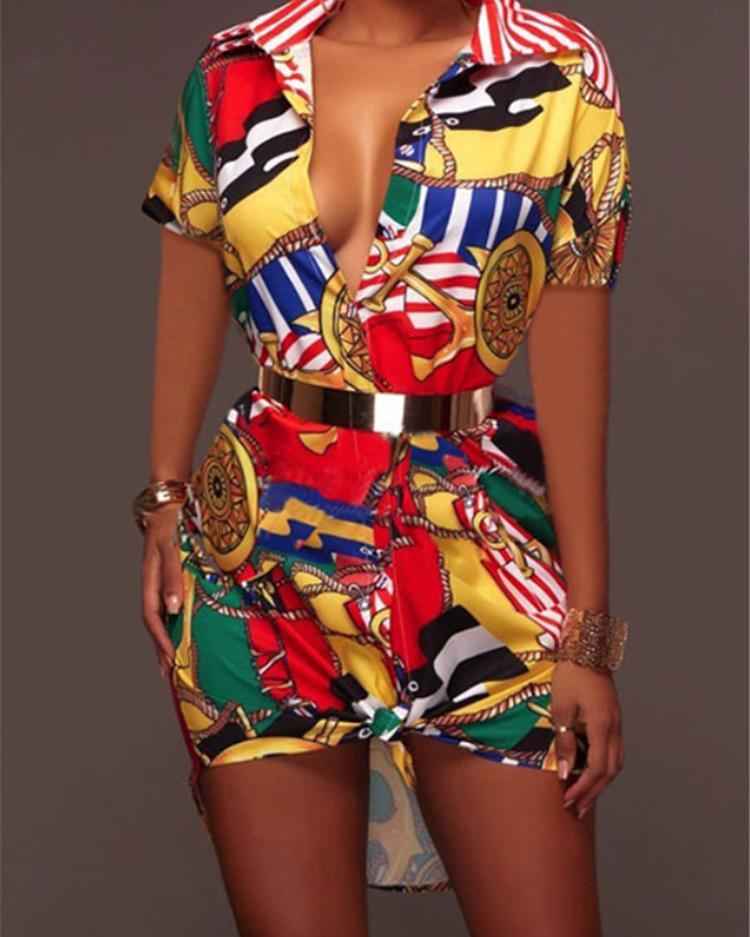 Ivrose coupon: Stylish Retro Print Lapel Collar Casual Dress - Yellow