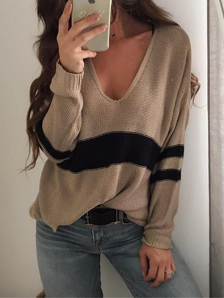 boutiquefeel / Contrast Stripes Deep V Loose Sweater