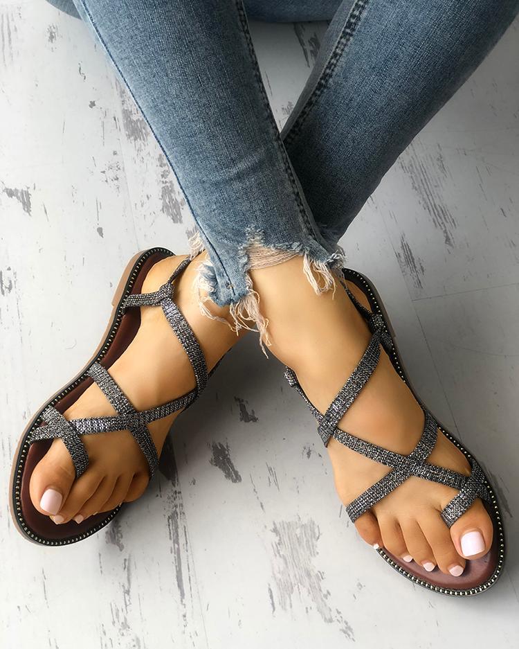 c1c9ed28a187 Sparkle Crisscross Strappy Toe Post Flat Sandals