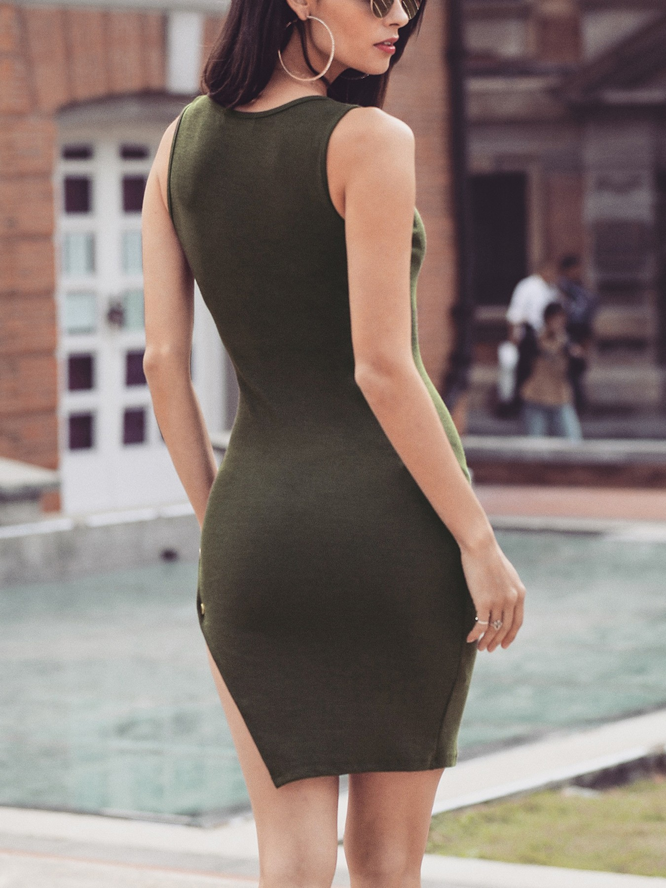 boutiquefeel / Plunge Side Ladder Cut Out Bodycon Dress