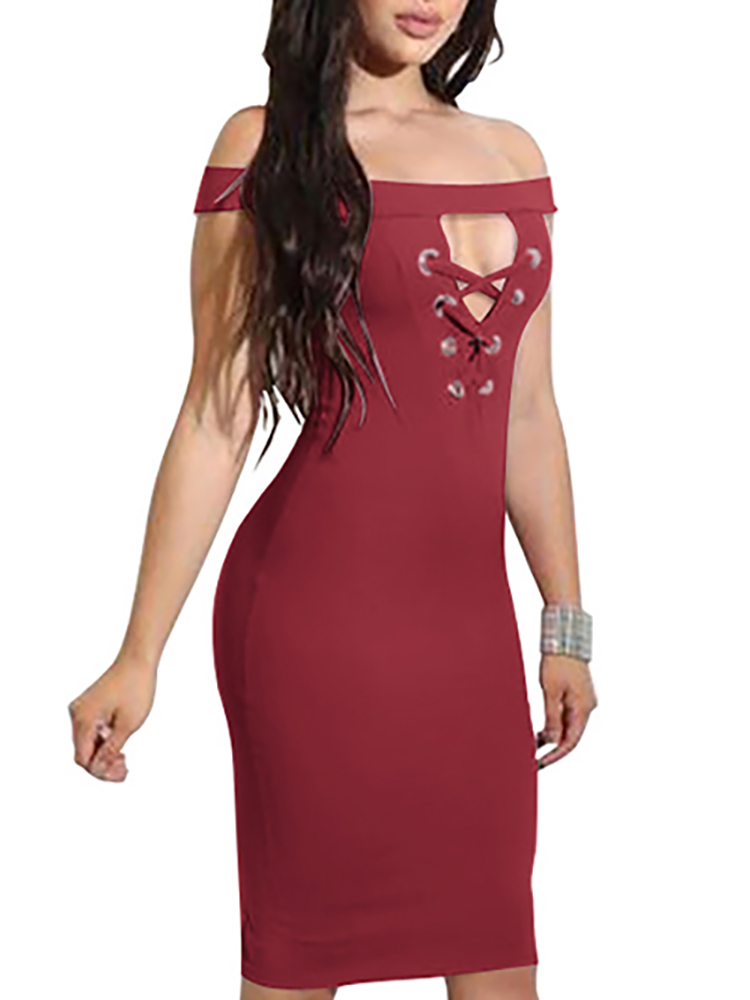 Low Cut Off Shoulder Lace-up Split Bodycon Dress Online. Discover hottest  trend fashion at chicme.com dab813762