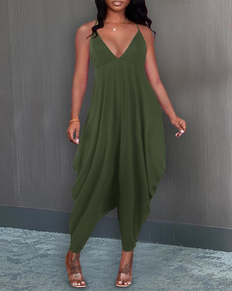 Solid Color Sling Loose Jumpsuits, Army green