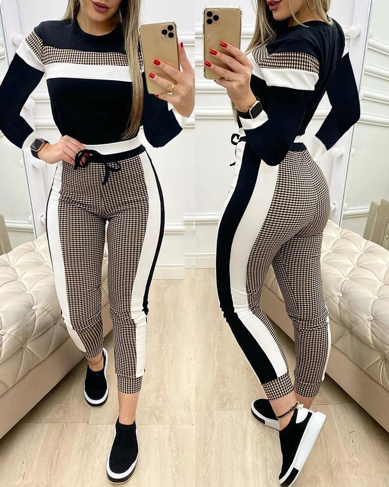 Colorblock Plaid Long Sleeve Top & Drawstring Pants Set thumbnail