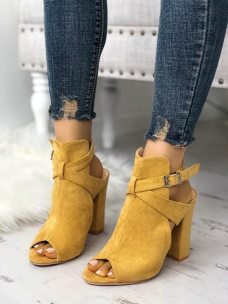 boutiquefeel / Cutout Criss Cross Strap Peep Toe Heels