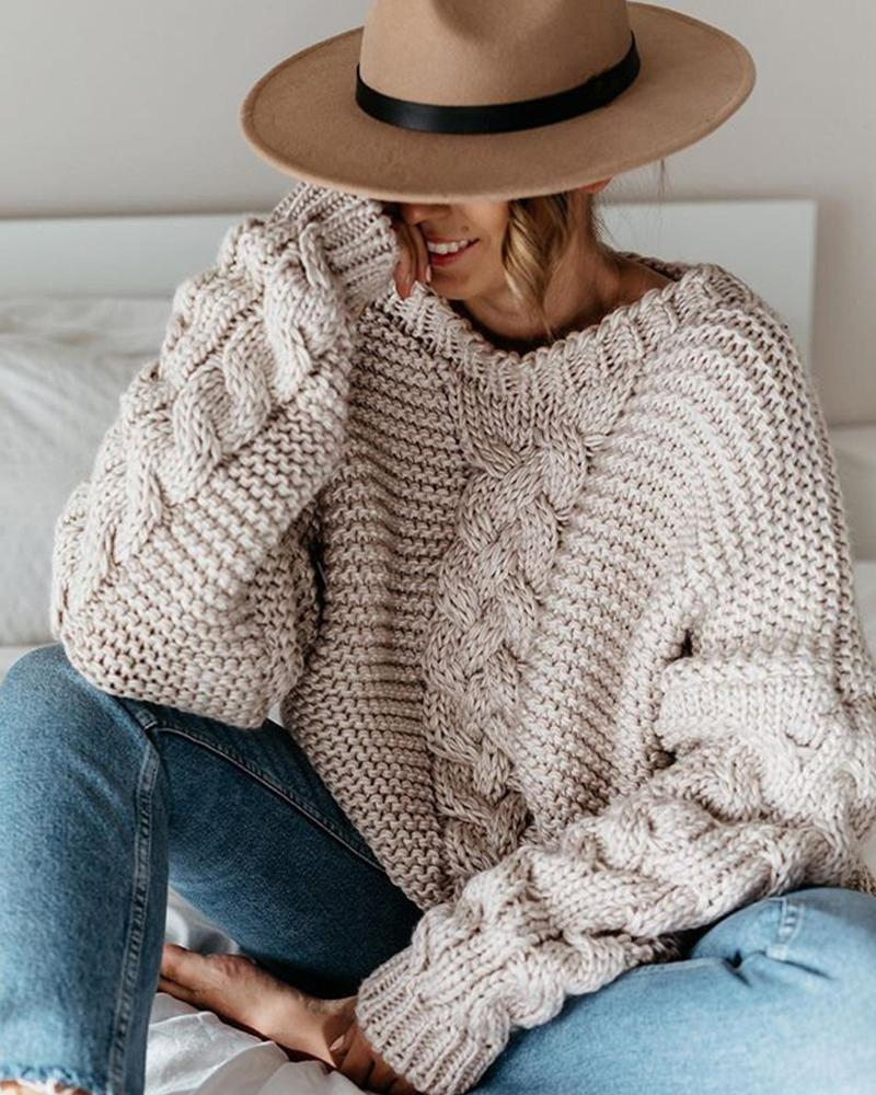Casual Solid V-neck Loose Sweater thumbnail
