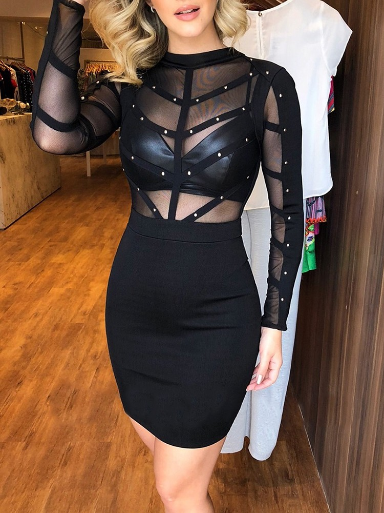 Sheer Mesh Splicing Rivet Embellished Bodycon Dress