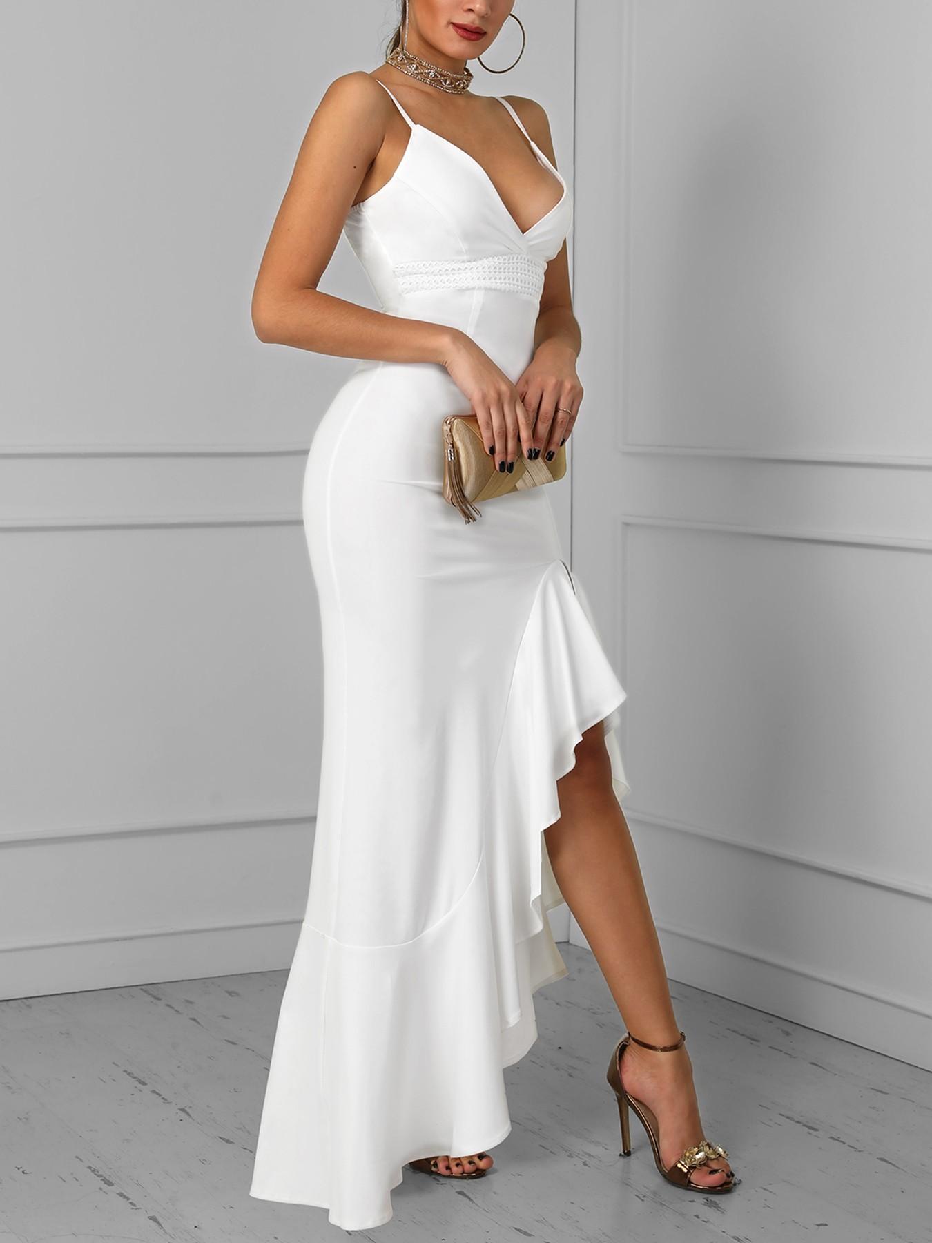 boutiquefeel / Solid Hollow Out Side Slit Flounced Irregular Dress
