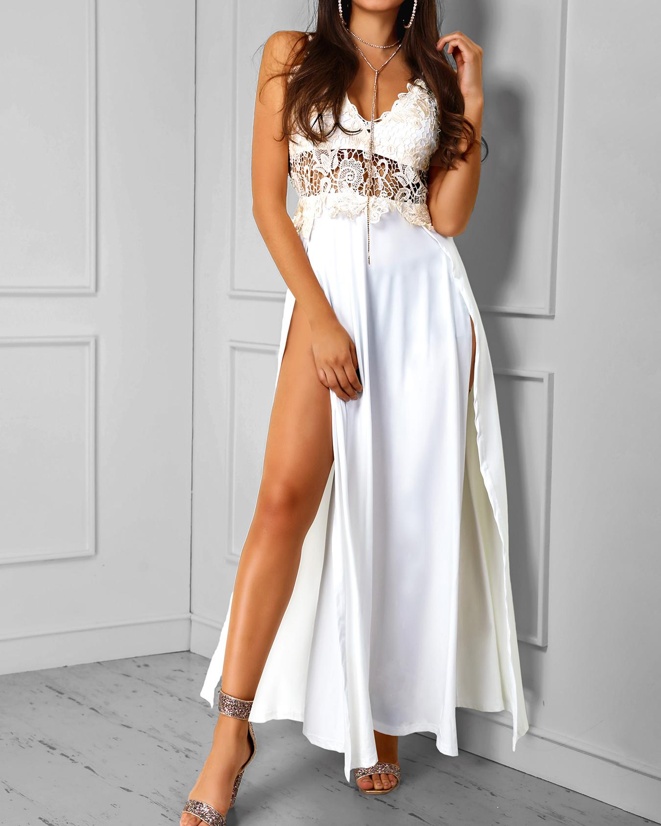 b5f7a8991f Guipure Lace Splicing Plunge High Slit Maxi Dress Online. Discover ...