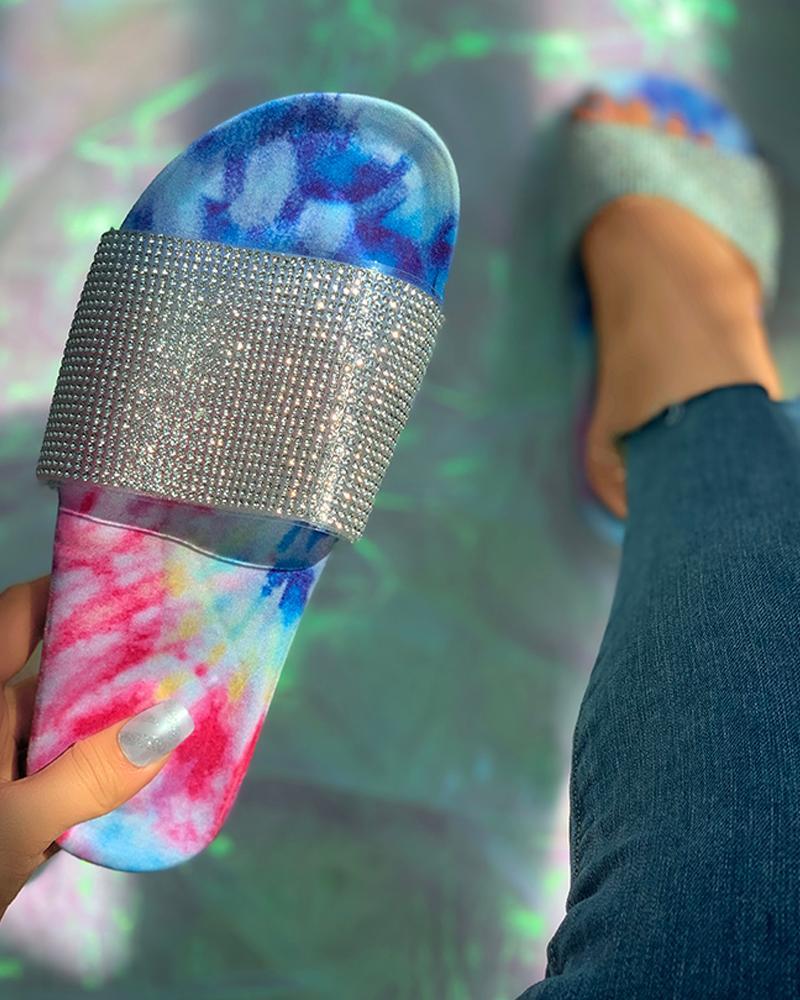 Studded Tie Dye Open Toe Flat Sandals thumbnail