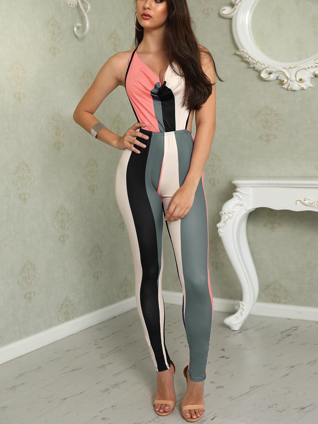 boutiquefeel / Color Block V Neck Halter Backless Jumpsuit