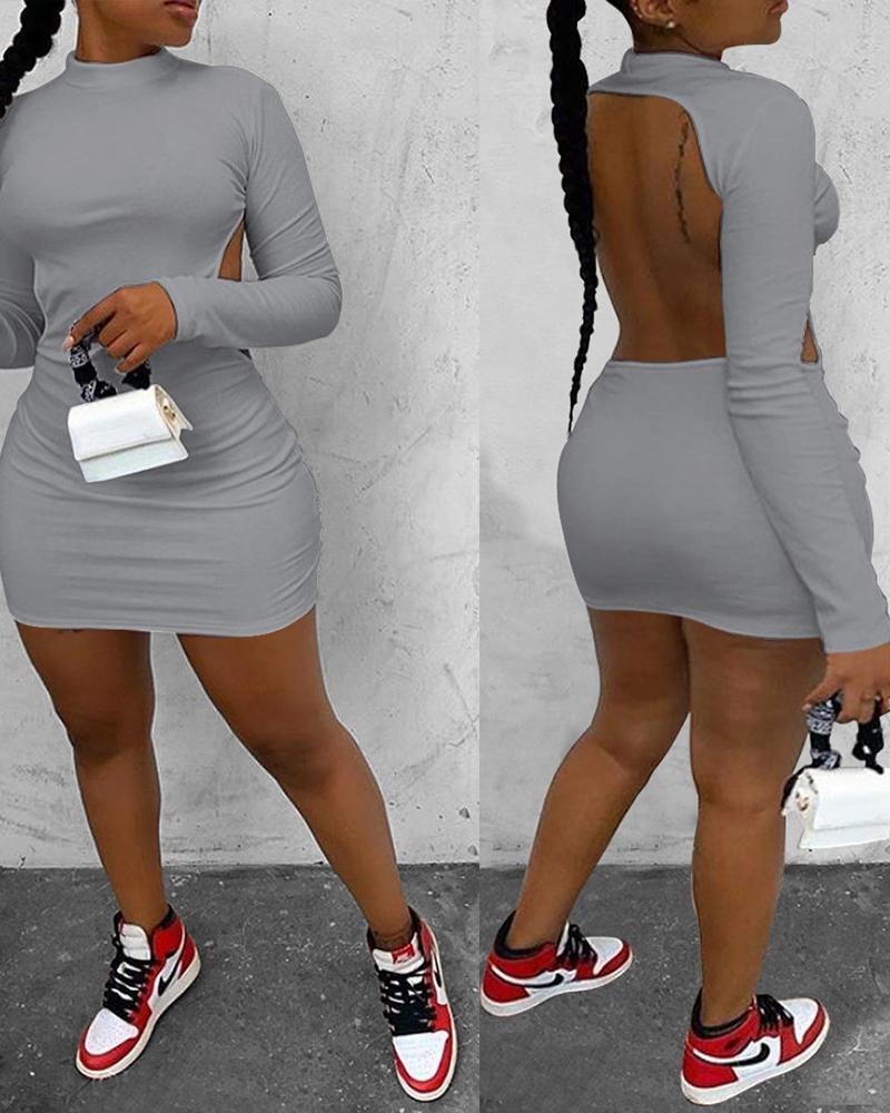 Long Sleeve Backless Bodycon Dress thumbnail