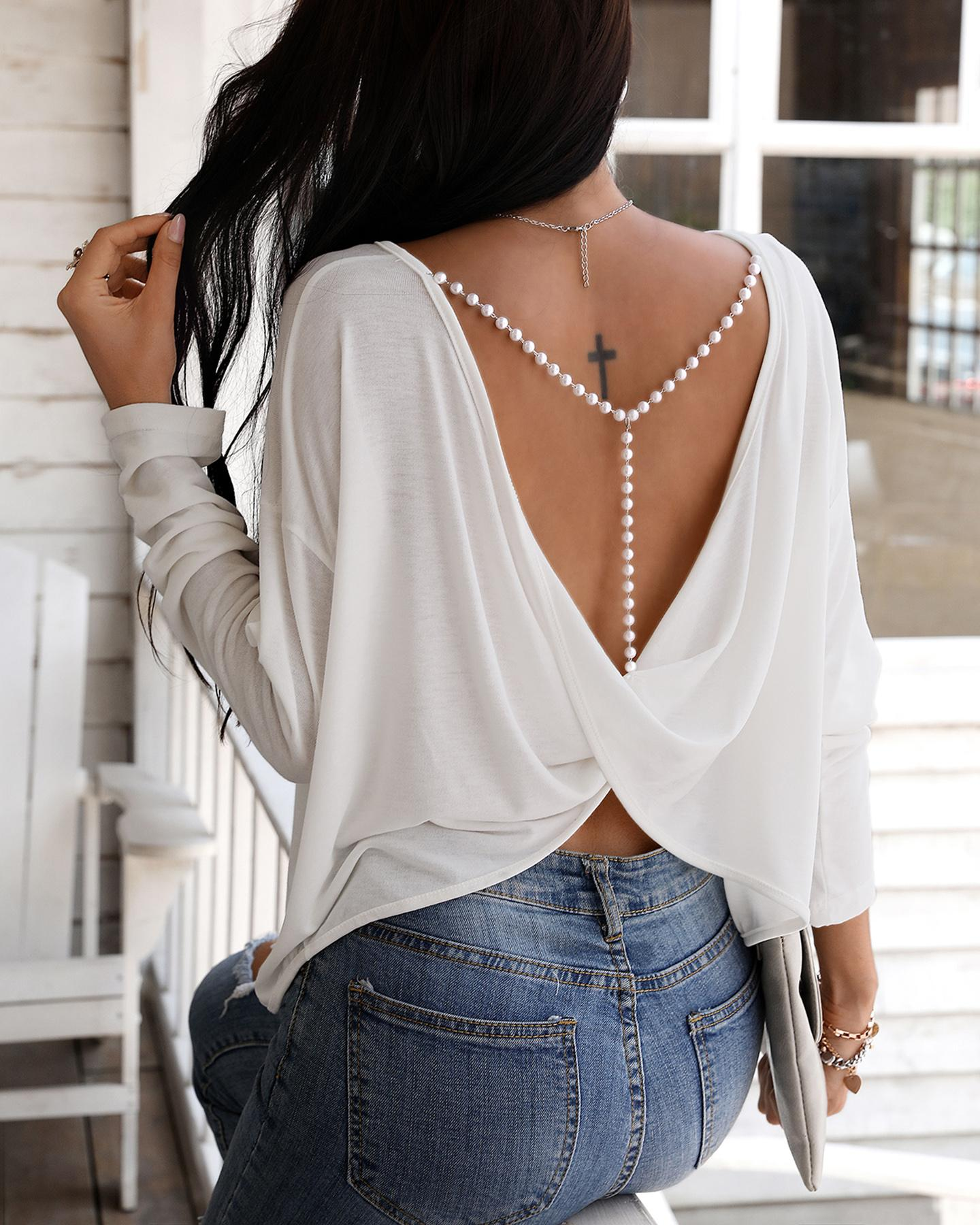 Solid Beaded Strap Backless Twisted Top thumbnail
