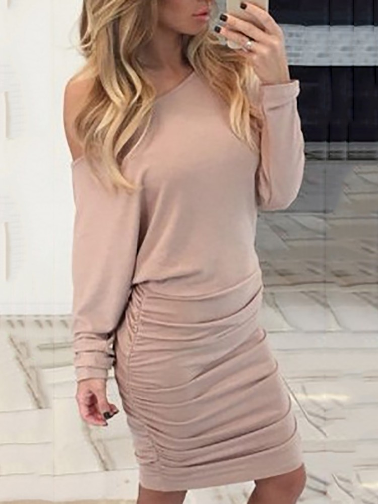Sexy Batwing Sleeve One Shoulder Shirring Bodycon Dress