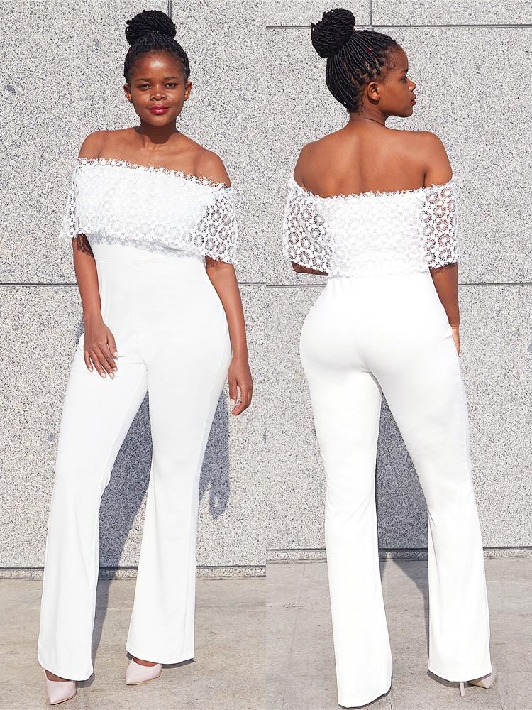 7ffd7e1e73e Women Jumpsuit Trendy Fashion Off Shoulder Wide Leg Pants Jumpsuit ...