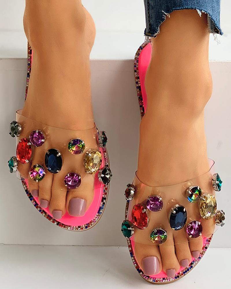 Studded Snakeskin Open Toe Flat Sandals thumbnail