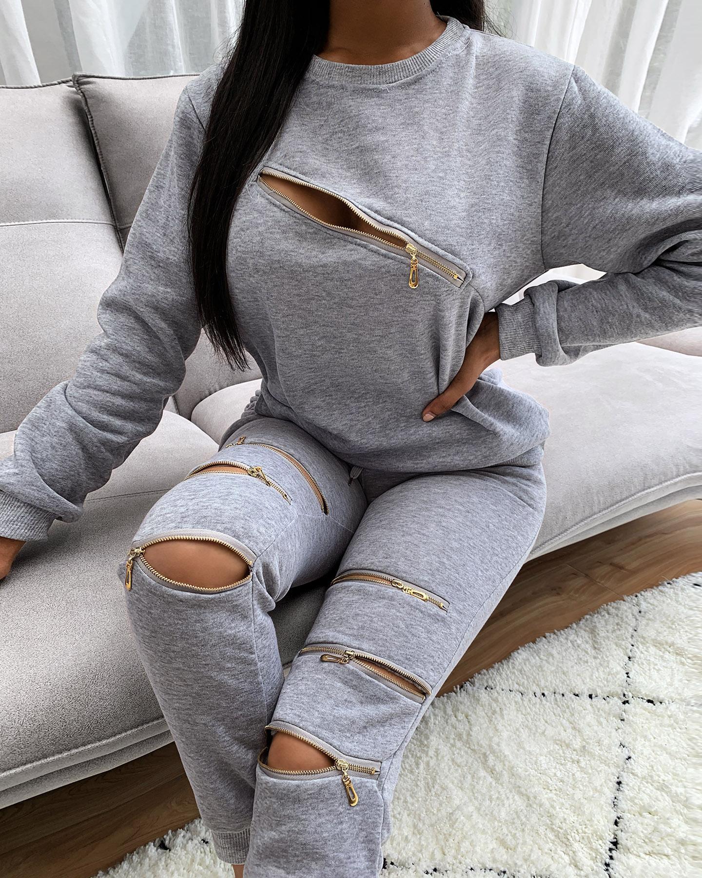 Zipper Design Cutout Long Sleeve Top & Pocket Design Pants Set thumbnail