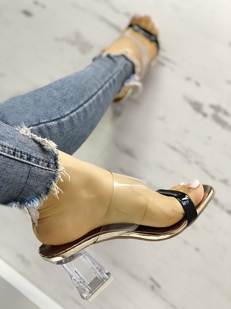 boutiquefeel / Transparent Open Toe Chunky Heeled Sandals