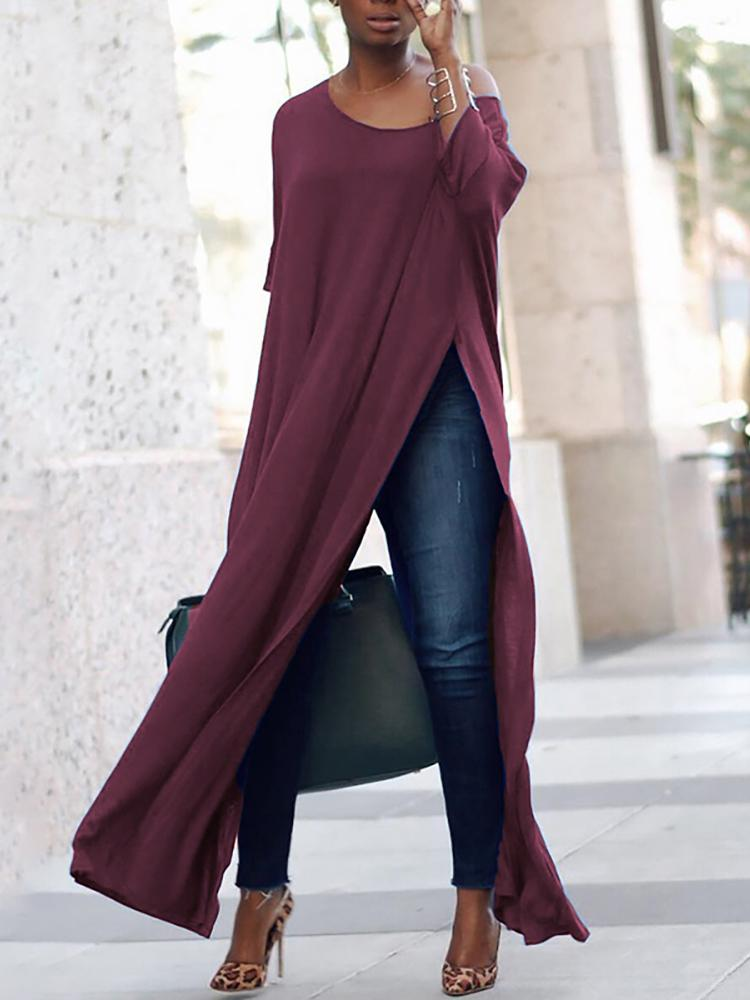 Ivrose coupon: Stylish Solid High Slit Casual Blouse